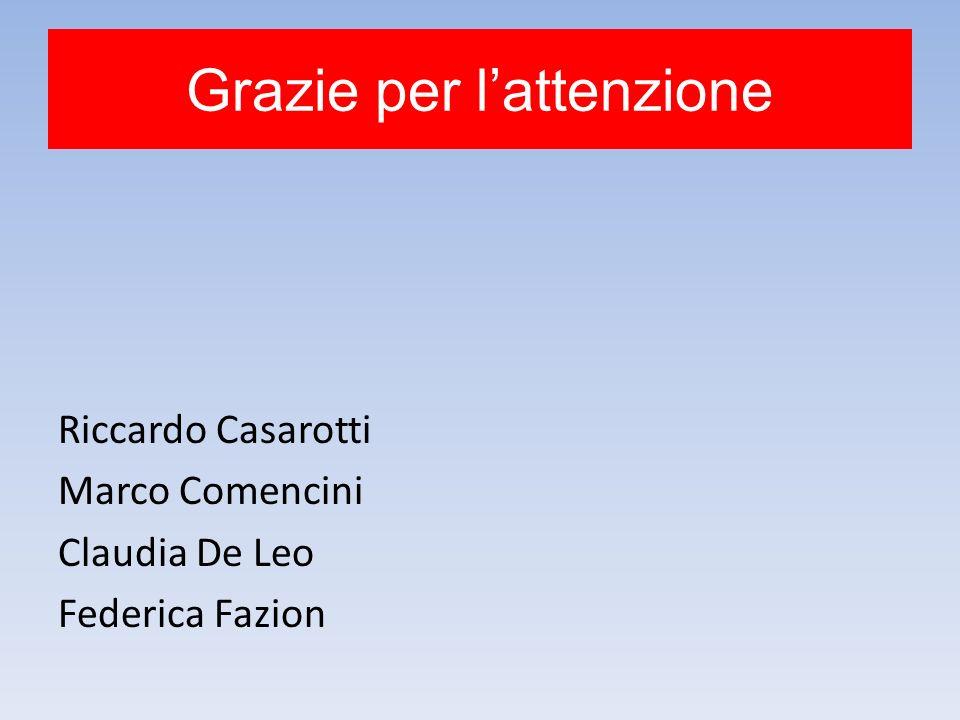 Grazie per lattenzione Riccardo Casarotti Marco Comencini Claudia De Leo Federica Fazion