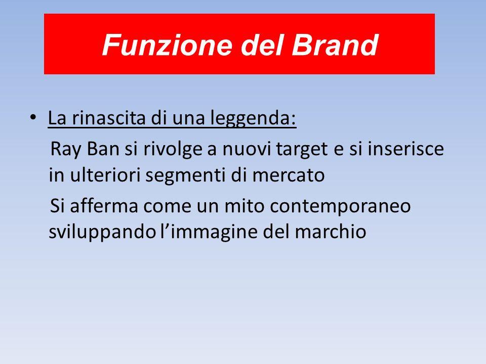 Funzione del Brand La rinascita di una leggenda: Ray Ban si rivolge a nuovi target e si inserisce in ulteriori segmenti di mercato Si afferma come un