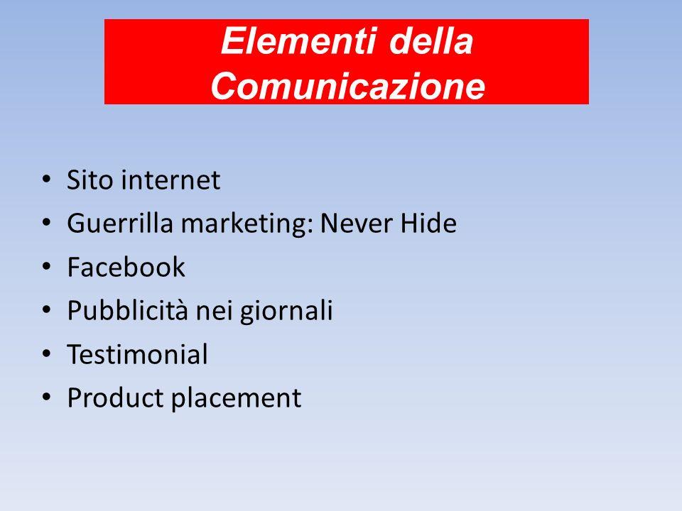 Elementi della Comunicazione Sito internet Guerrilla marketing: Never Hide Facebook Pubblicità nei giornali Testimonial Product placement