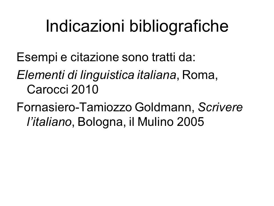 Indicazioni bibliografiche Esempi e citazione sono tratti da: Elementi di linguistica italiana, Roma, Carocci 2010 Fornasiero-Tamiozzo Goldmann, Scrivere litaliano, Bologna, il Mulino 2005