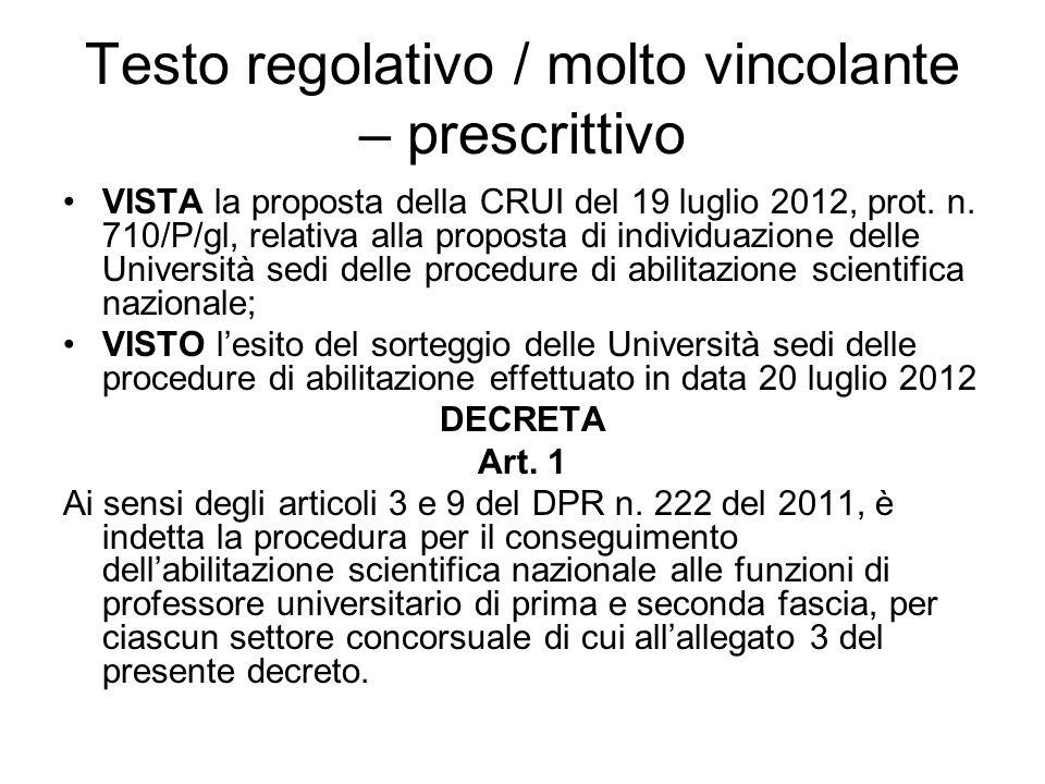 Testo regolativo / molto vincolante – prescrittivo VISTA la proposta della CRUI del 19 luglio 2012, prot.
