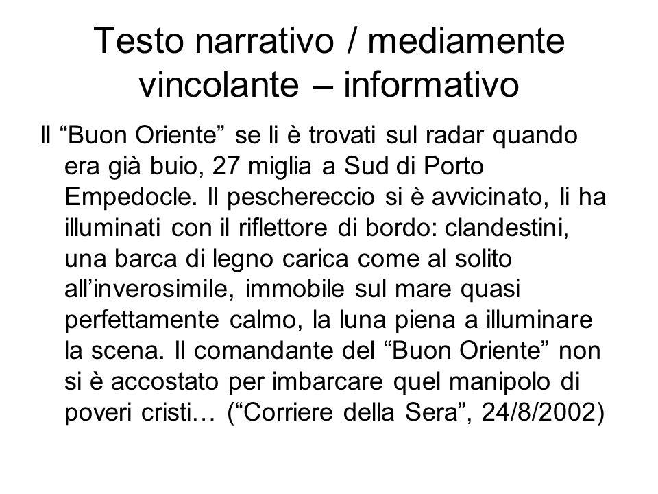 Testo narrativo / mediamente vincolante – informativo Il Buon Oriente se li è trovati sul radar quando era già buio, 27 miglia a Sud di Porto Empedocle.