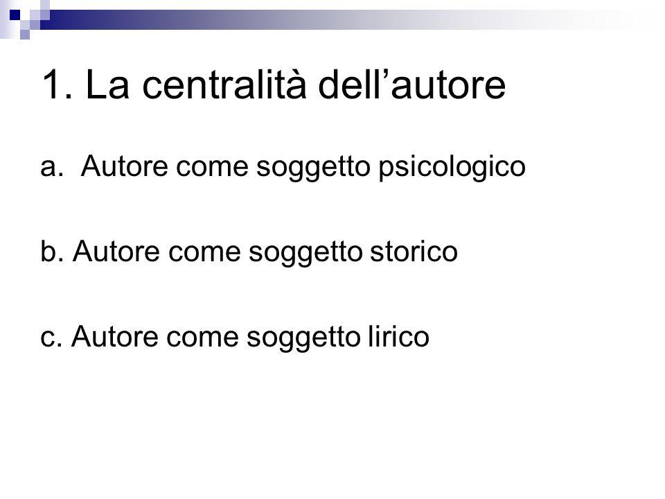 1. La centralità dellautore a. Autore come soggetto psicologico b. Autore come soggetto storico c. Autore come soggetto lirico