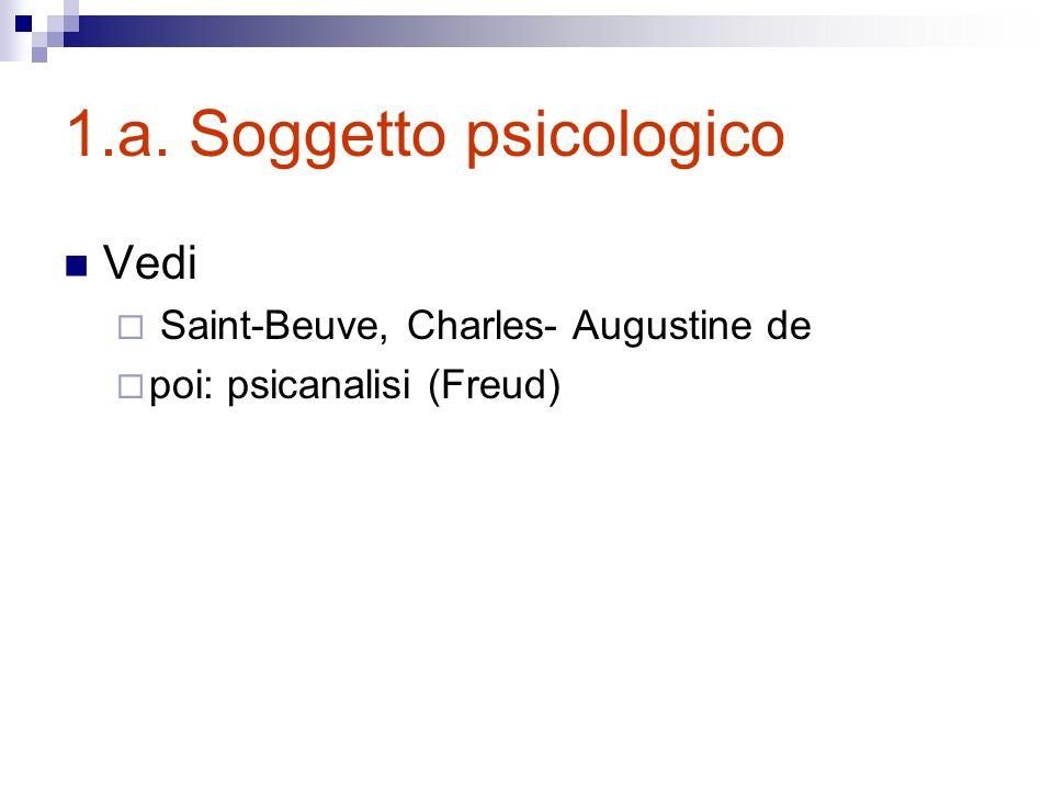 1.a. Soggetto psicologico Vedi Saint-Beuve, Charles- Augustine de poi: psicanalisi (Freud)