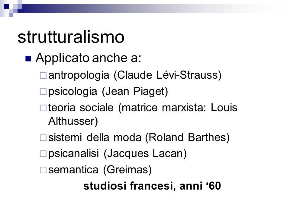 strutturalismo Applicato anche a: antropologia (Claude Lévi-Strauss) psicologia (Jean Piaget) teoria sociale (matrice marxista: Louis Althusser) siste