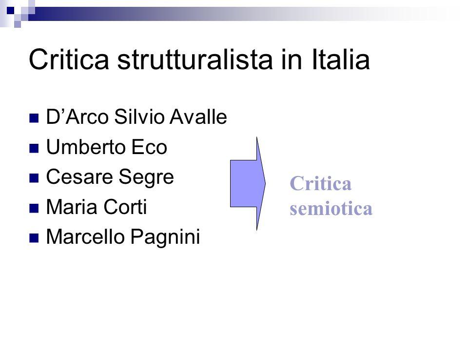 Critica strutturalista in Italia DArco Silvio Avalle Umberto Eco Cesare Segre Maria Corti Marcello Pagnini Critica semiotica