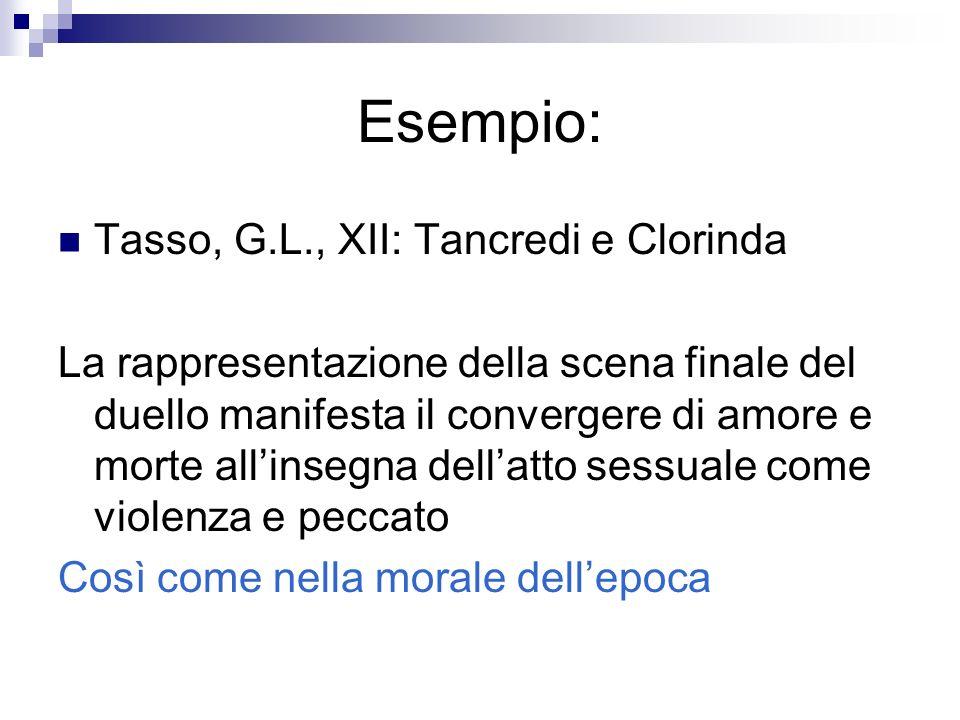 Esempio: Tasso, G.L., XII: Tancredi e Clorinda La rappresentazione della scena finale del duello manifesta il convergere di amore e morte allinsegna d