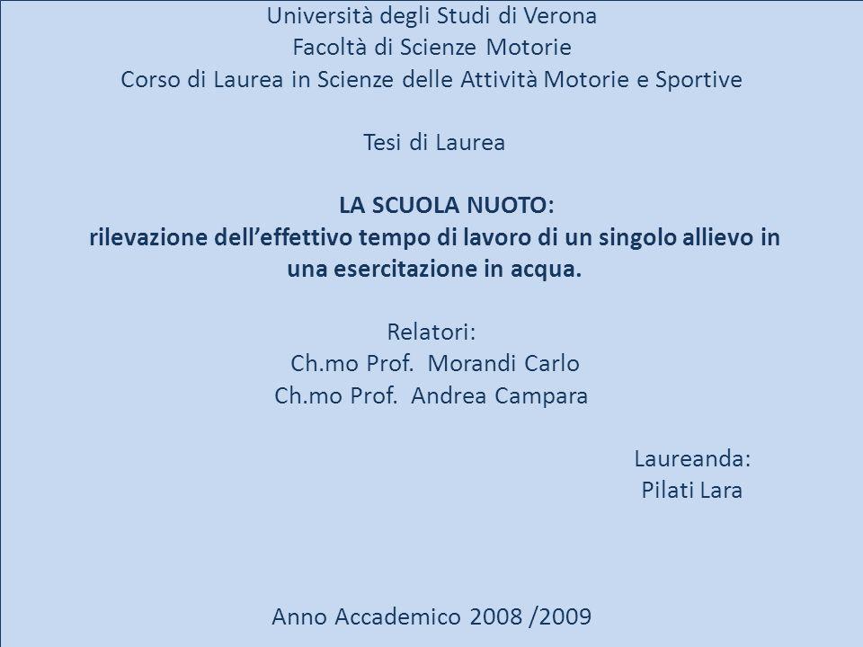 Università degli Studi di Verona Facoltà di Scienze Motorie Corso di Laurea in Scienze delle Attività Motorie e Sportive Tesi di Laurea LA SCUOLA NUOT