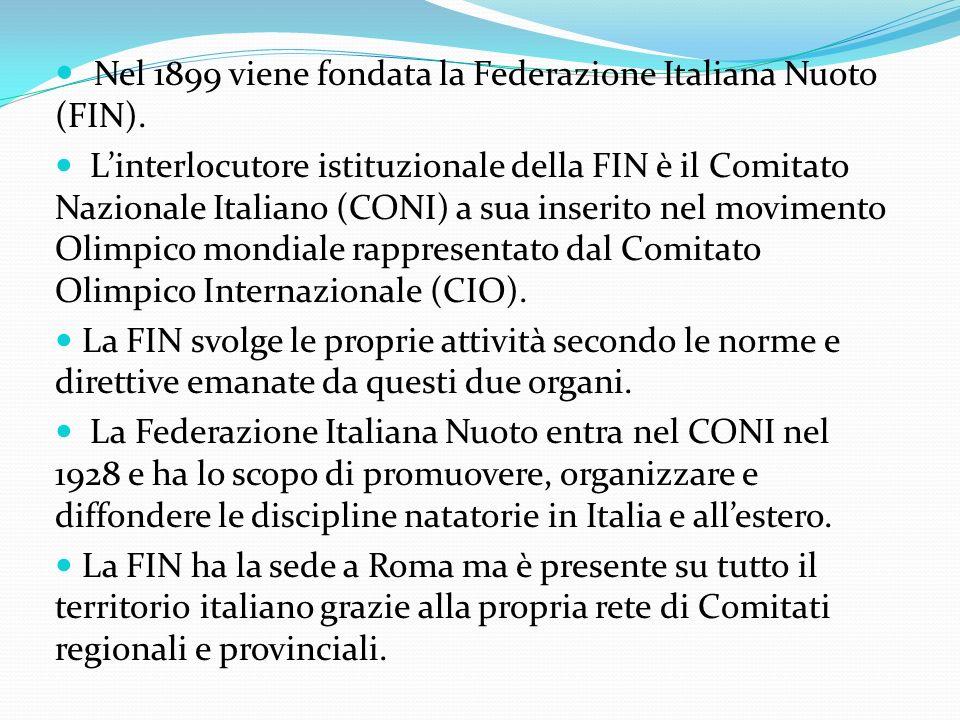 Nel 1899 viene fondata la Federazione Italiana Nuoto (FIN). Linterlocutore istituzionale della FIN è il Comitato Nazionale Italiano (CONI) a sua inser