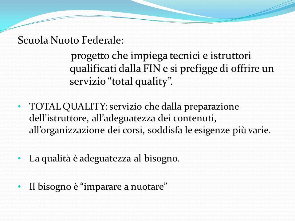 Scuola Nuoto Federale: progetto che impiega tecnici e istruttori qualificati dalla FIN e si prefigge di offrire un servizio total quality. TOTAL QUALI