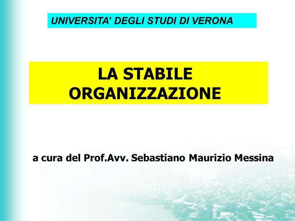 LA STABILE ORGANIZZAZIONE a cura del Prof.Avv. Sebastiano Maurizio Messina UNIVERSITA DEGLI STUDI DI VERONA