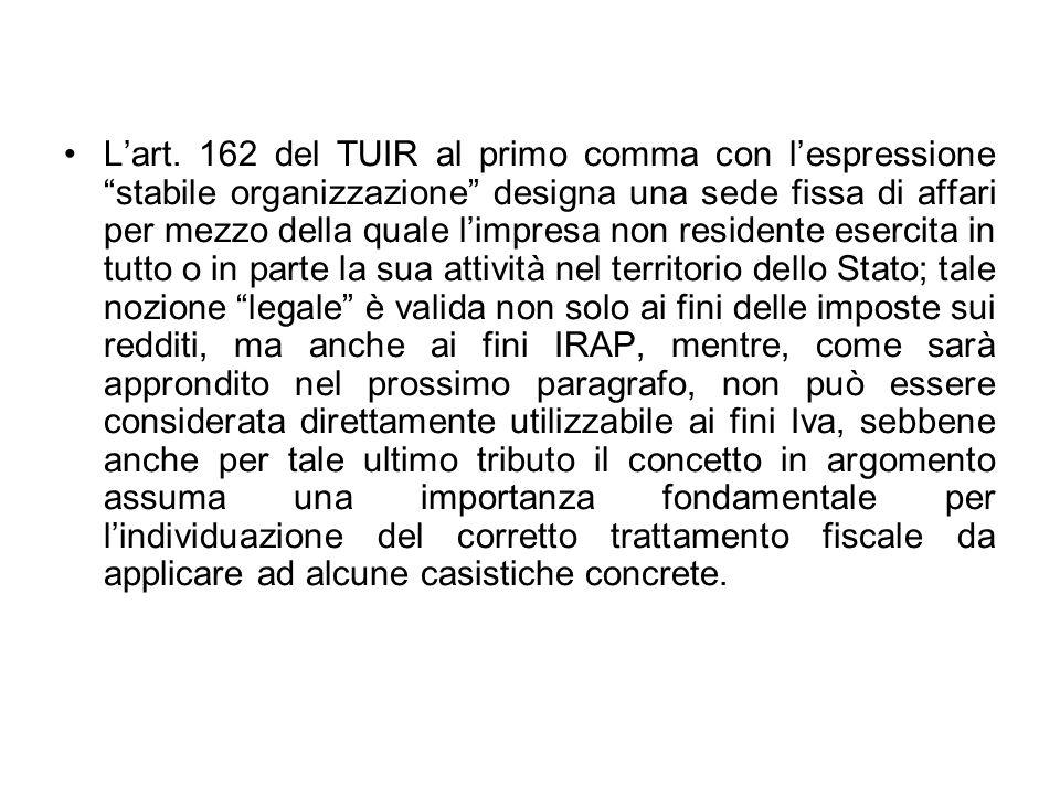 Lart. 162 del TUIR al primo comma con lespressione stabile organizzazione designa una sede fissa di affari per mezzo della quale limpresa non resident