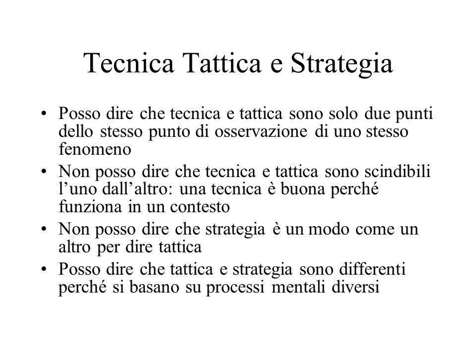 Tecnica Tattica e Strategia Tecnica e Tattica sono inscindibili Non può essere unazione tattica (scelta) senza il sostegno della tecnica (capacità di
