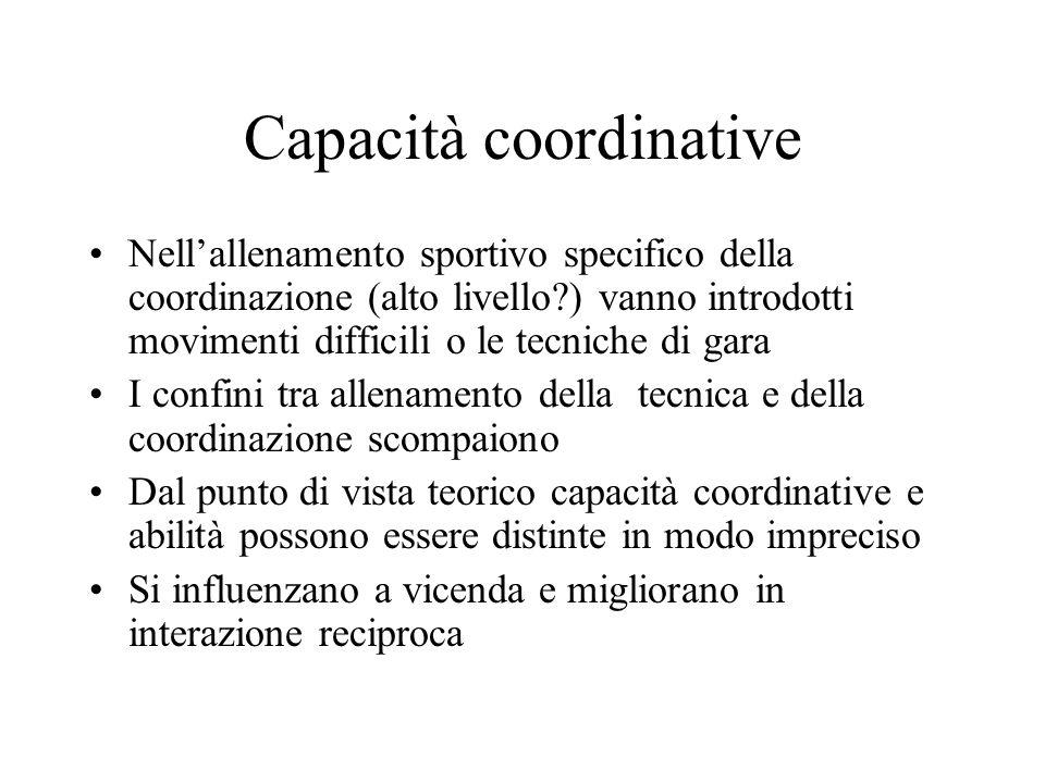Capacità coordinative Impostazione metodica 1) esecuzione di movimenti semplici, perfettamente conosciuti in condizioni rese più difficili 2) eseguire