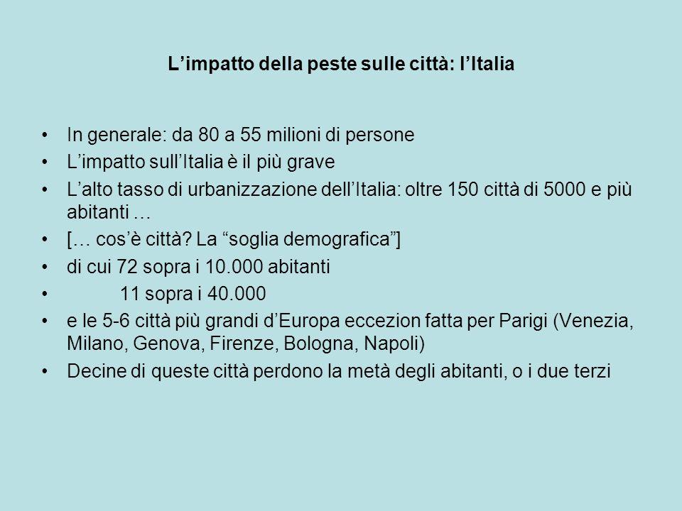 Limpatto della peste sulle città: lItalia In generale: da 80 a 55 milioni di persone Limpatto sullItalia è il più grave Lalto tasso di urbanizzazione