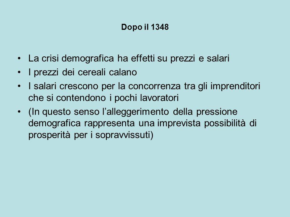 Dopo il 1348 La crisi demografica ha effetti su prezzi e salari I prezzi dei cereali calano I salari crescono per la concorrenza tra gli imprenditori