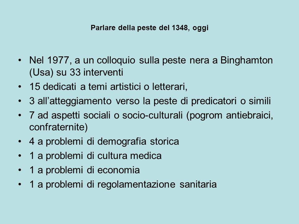 Parlare della peste del 1348, oggi Nel 1977, a un colloquio sulla peste nera a Binghamton (Usa) su 33 interventi 15 dedicati a temi artistici o letter