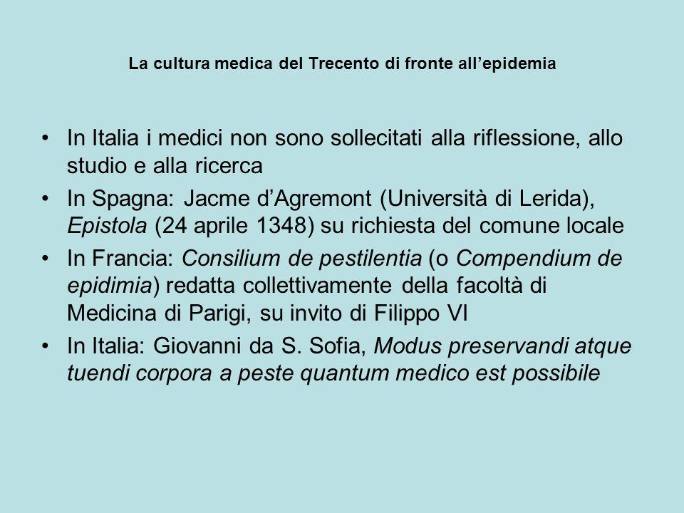La cultura medica del Trecento di fronte allepidemia In Italia i medici non sono sollecitati alla riflessione, allo studio e alla ricerca In Spagna: J