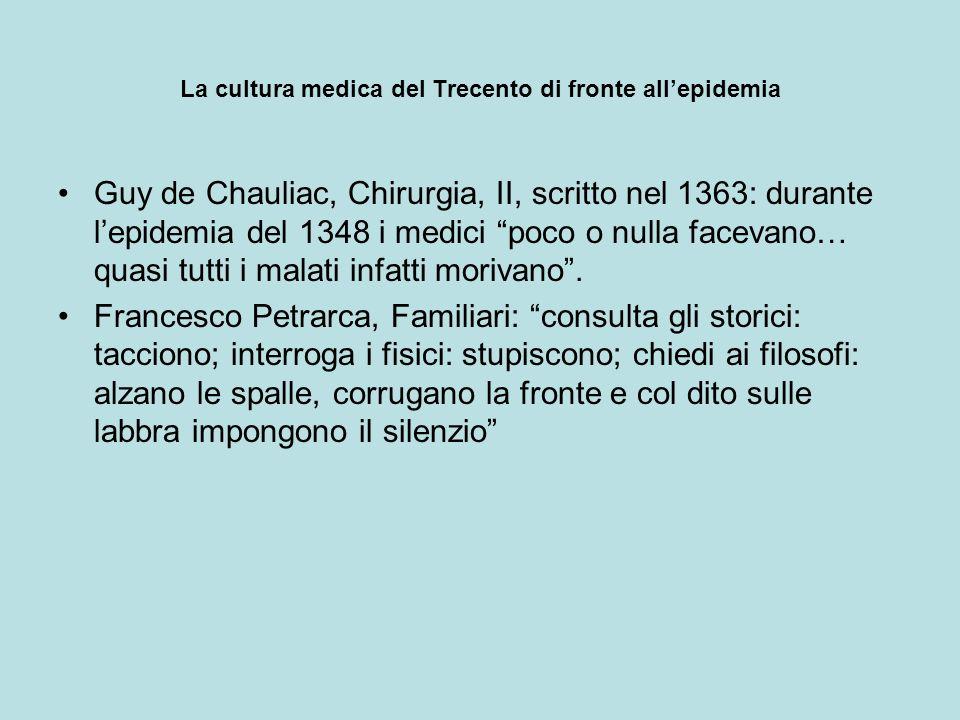La cultura medica del Trecento di fronte allepidemia Guy de Chauliac, Chirurgia, II, scritto nel 1363: durante lepidemia del 1348 i medici poco o null