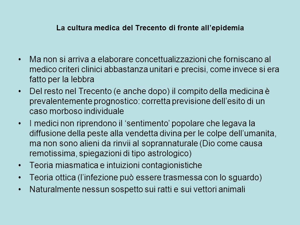 La cultura medica del Trecento di fronte allepidemia Ma non si arriva a elaborare concettualizzazioni che forniscano al medico criteri clinici abbasta