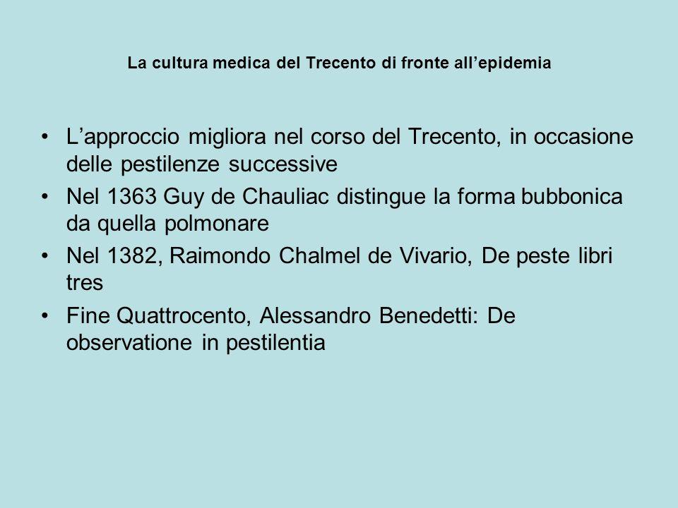 La cultura medica del Trecento di fronte allepidemia Lapproccio migliora nel corso del Trecento, in occasione delle pestilenze successive Nel 1363 Guy