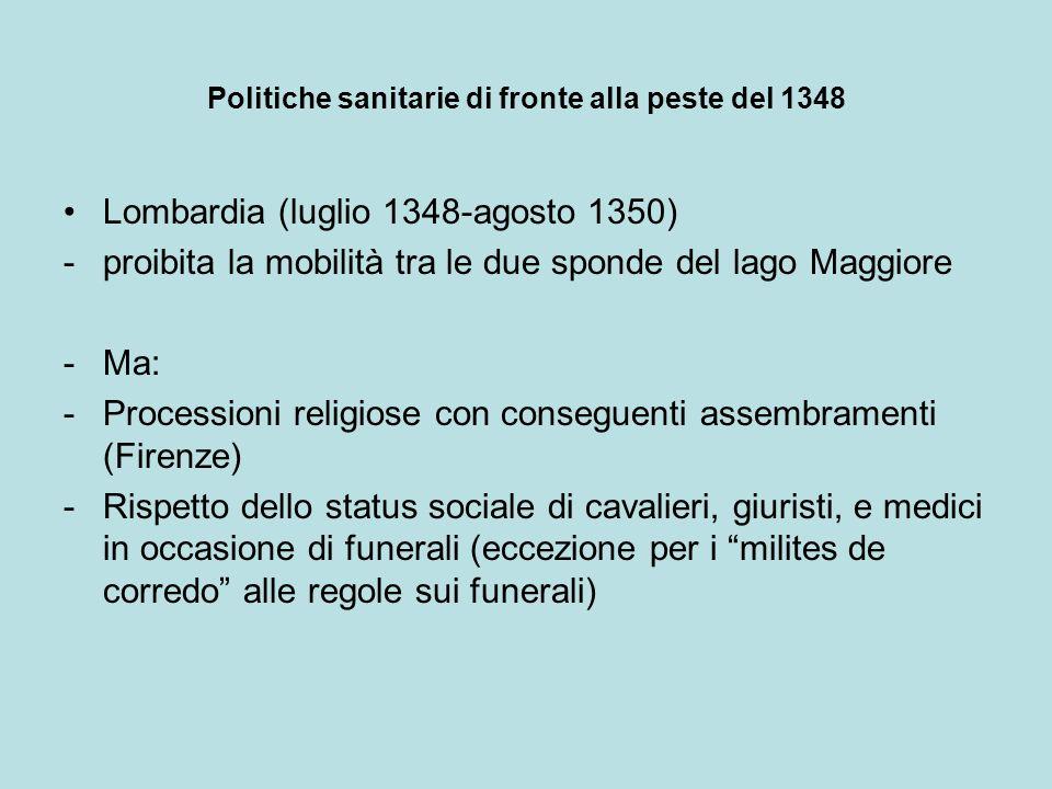 Politiche sanitarie di fronte alla peste del 1348 Lombardia (luglio 1348-agosto 1350) -proibita la mobilità tra le due sponde del lago Maggiore -Ma: -