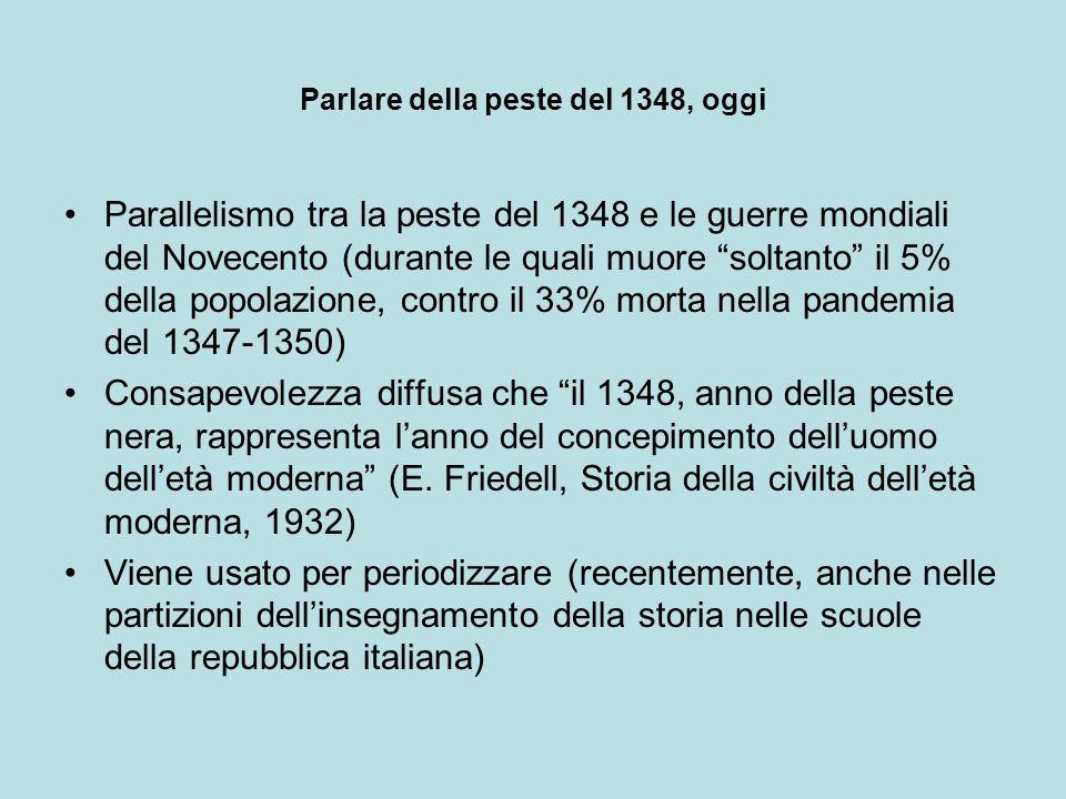 Parlare della peste del 1348, oggi Parallelismo tra la peste del 1348 e le guerre mondiali del Novecento (durante le quali muore soltanto il 5% della