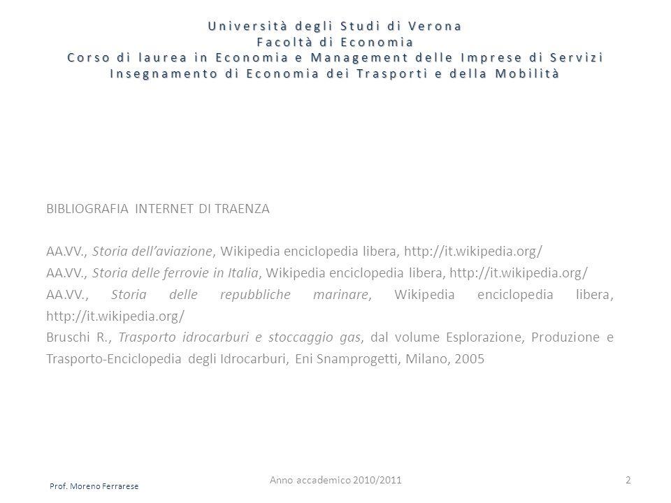 BIBLIOGRAFIA INTERNET DI TRAENZA AA.VV., Storia dellaviazione, Wikipedia enciclopedia libera, http://it.wikipedia.org/ AA.VV., Storia delle ferrovie i