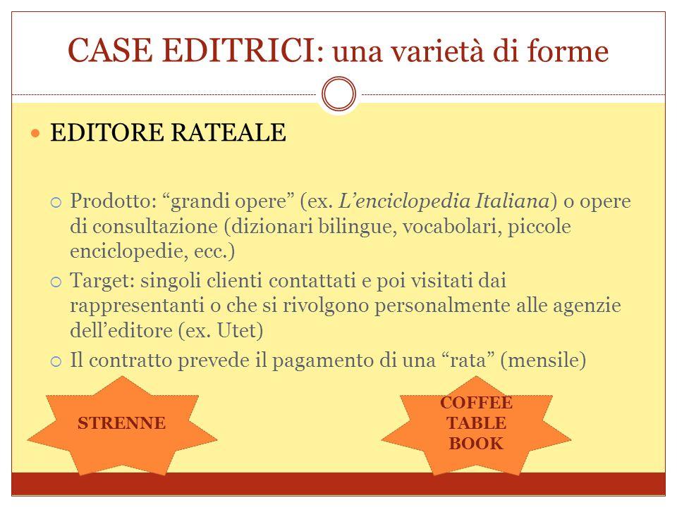 CASE EDITRICI : una varietà di forme EDITORE RATEALE Prodotto: grandi opere (ex. Lenciclopedia Italiana) o opere di consultazione (dizionari bilingue,