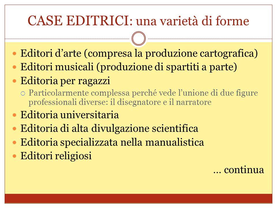 CASE EDITRICI : una varietà di forme Editori darte (compresa la produzione cartografica) Editori musicali (produzione di spartiti a parte) Editoria pe