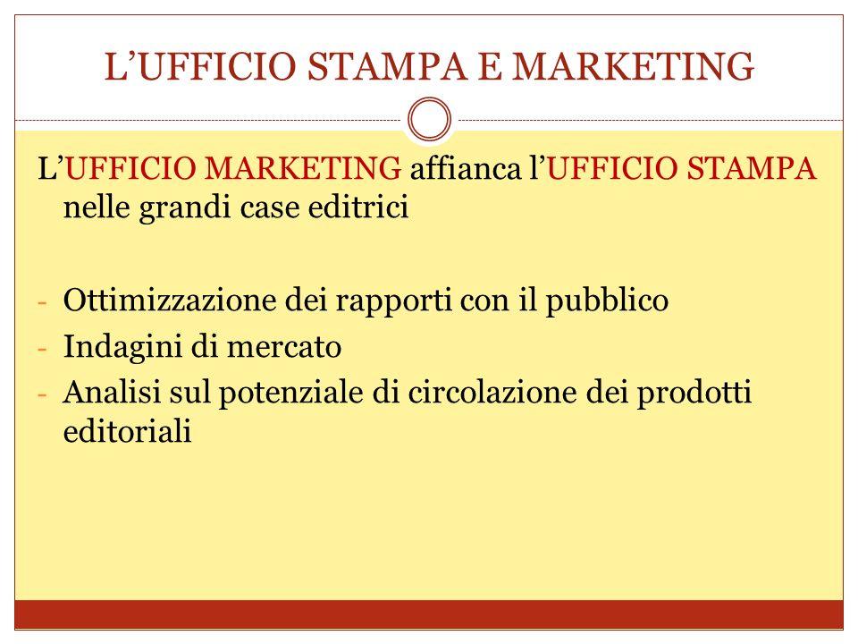 LUFFICIO STAMPA E MARKETING LUFFICIO MARKETING affianca lUFFICIO STAMPA nelle grandi case editrici - Ottimizzazione dei rapporti con il pubblico - Ind