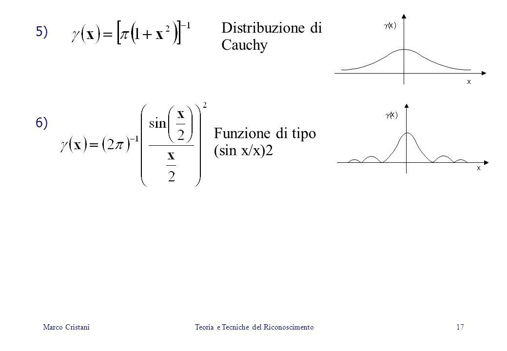 17 5) 6) Distribuzione di Cauchy Funzione di tipo (sin x/x)2 x x x x Marco Cristani Teoria e Tecniche del Riconoscimento