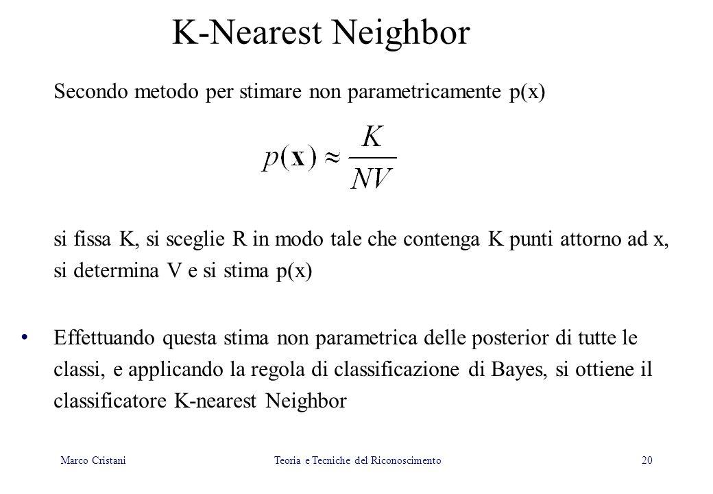 20 K-Nearest Neighbor Secondo metodo per stimare non parametricamente p(x) si fissa K, si sceglie R in modo tale che contenga K punti attorno ad x, si