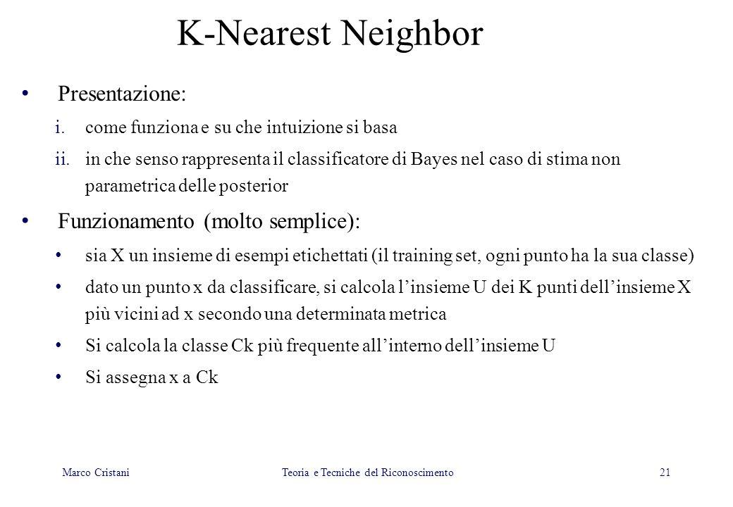 21 K-Nearest Neighbor Presentazione: i.come funziona e su che intuizione si basa ii.in che senso rappresenta il classificatore di Bayes nel caso di st