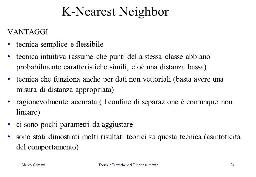 24 K-Nearest Neighbor VANTAGGI tecnica semplice e flessibile tecnica intuitiva (assume che punti della stessa classe abbiano probabilmente caratterist