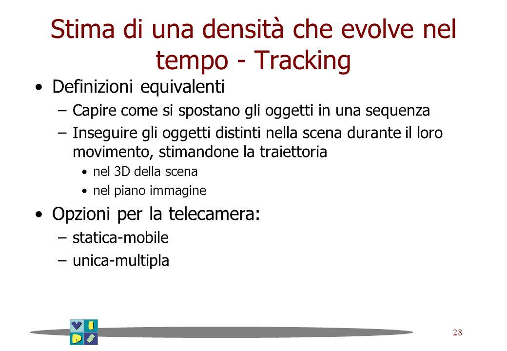 28 Stima di una densità che evolve nel tempo - Tracking Definizioni equivalenti –Capire come si spostano gli oggetti in una sequenza –Inseguire gli og