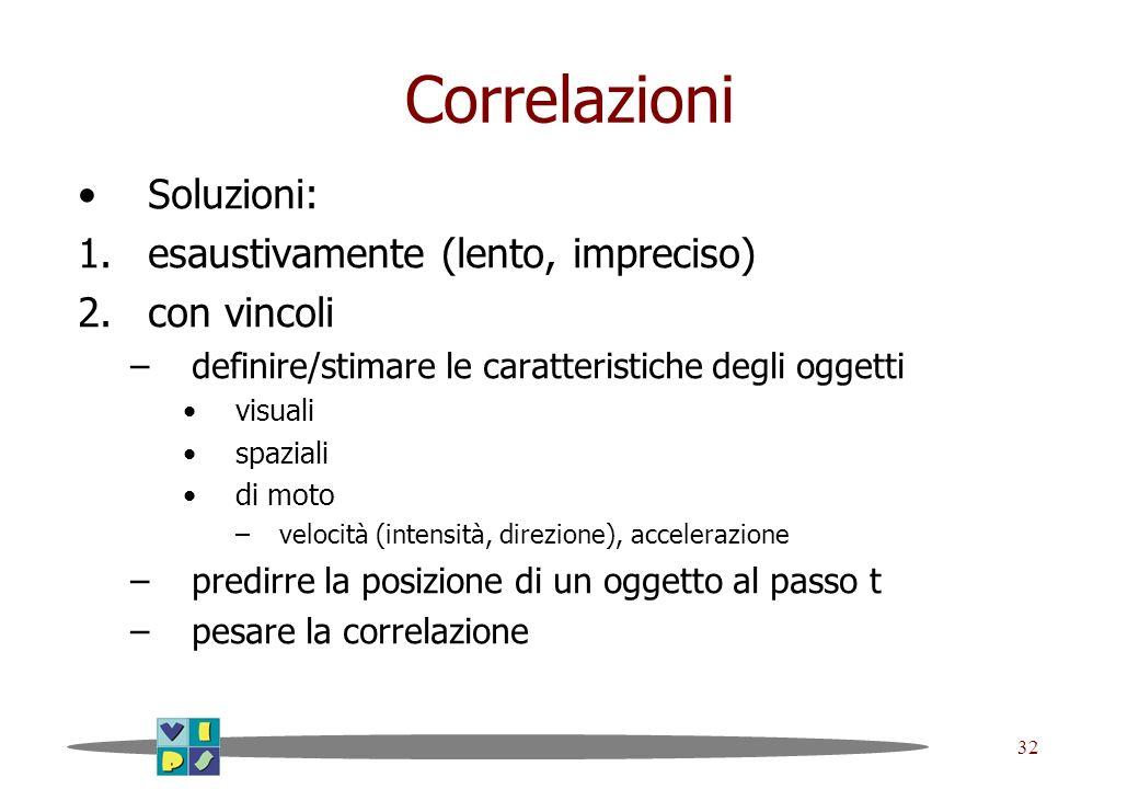 32 Correlazioni Soluzioni: 1.esaustivamente (lento, impreciso) 2.con vincoli –definire/stimare le caratteristiche degli oggetti visuali spaziali di mo