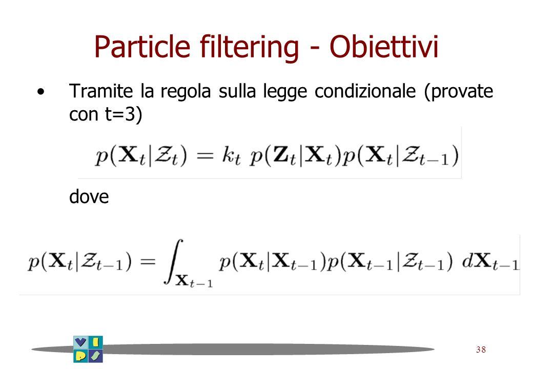 38 Particle filtering - Obiettivi Tramite la regola sulla legge condizionale (provate con t=3) dove
