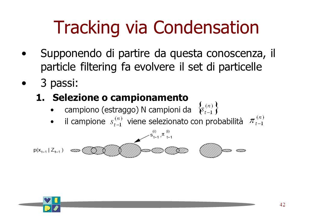 42 Tracking via Condensation Supponendo di partire da questa conoscenza, il particle filtering fa evolvere il set di particelle 3 passi: 1.Selezione o