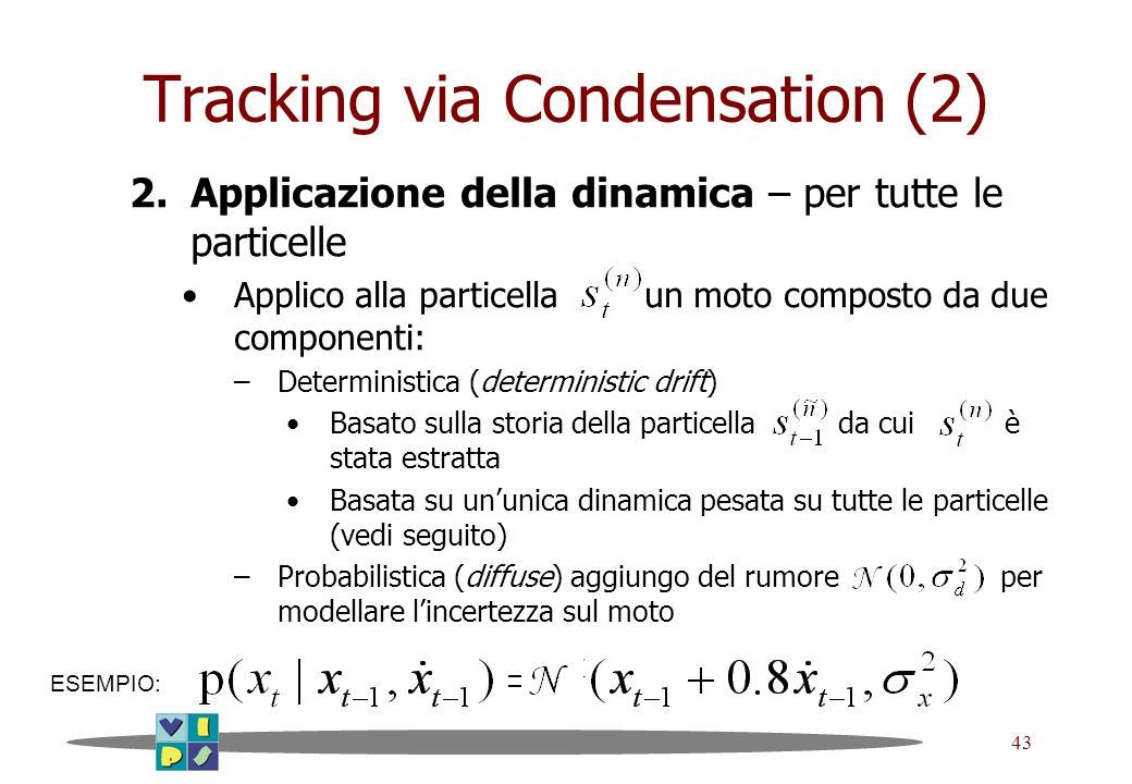 43 Tracking via Condensation (2) 2.Applicazione della dinamica – per tutte le particelle Applico alla particella un moto composto da due componenti: –