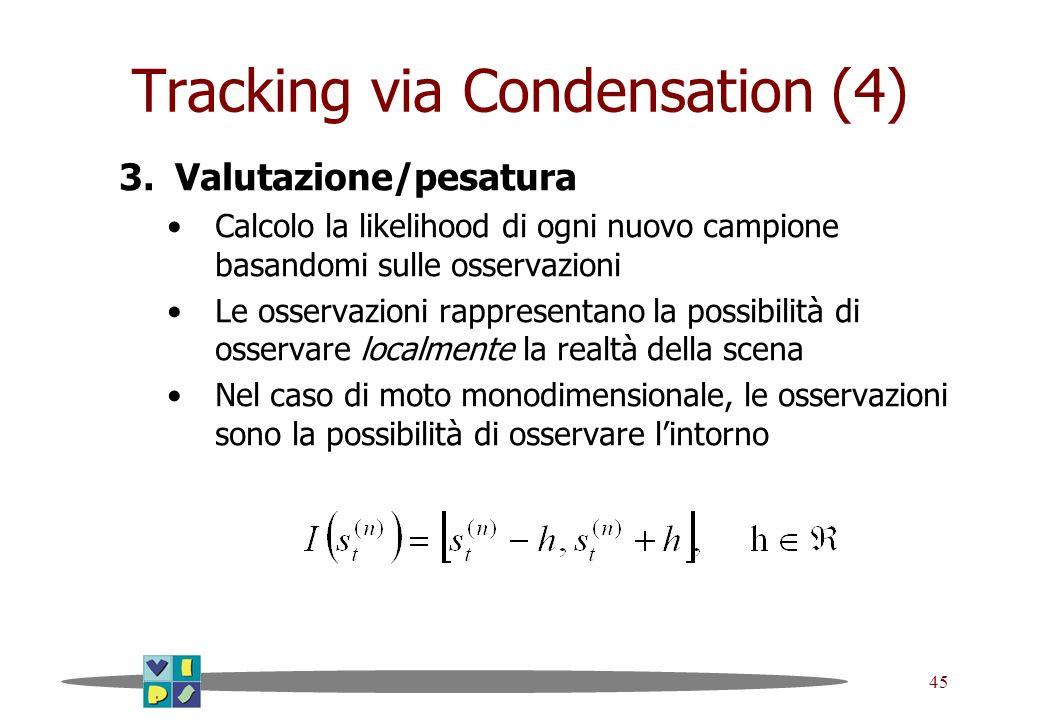 45 Tracking via Condensation (4) 3.Valutazione/pesatura Calcolo la likelihood di ogni nuovo campione basandomi sulle osservazioni Le osservazioni rapp