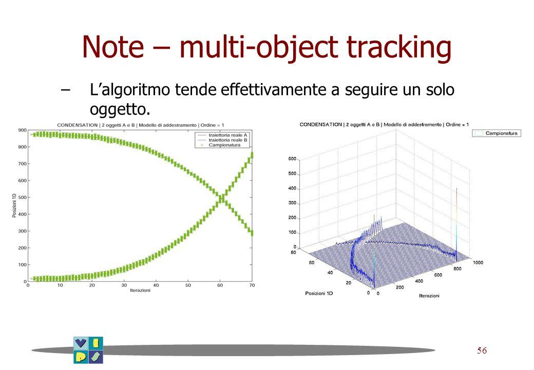 56 Note – multi-object tracking –Lalgoritmo tende effettivamente a seguire un solo oggetto.
