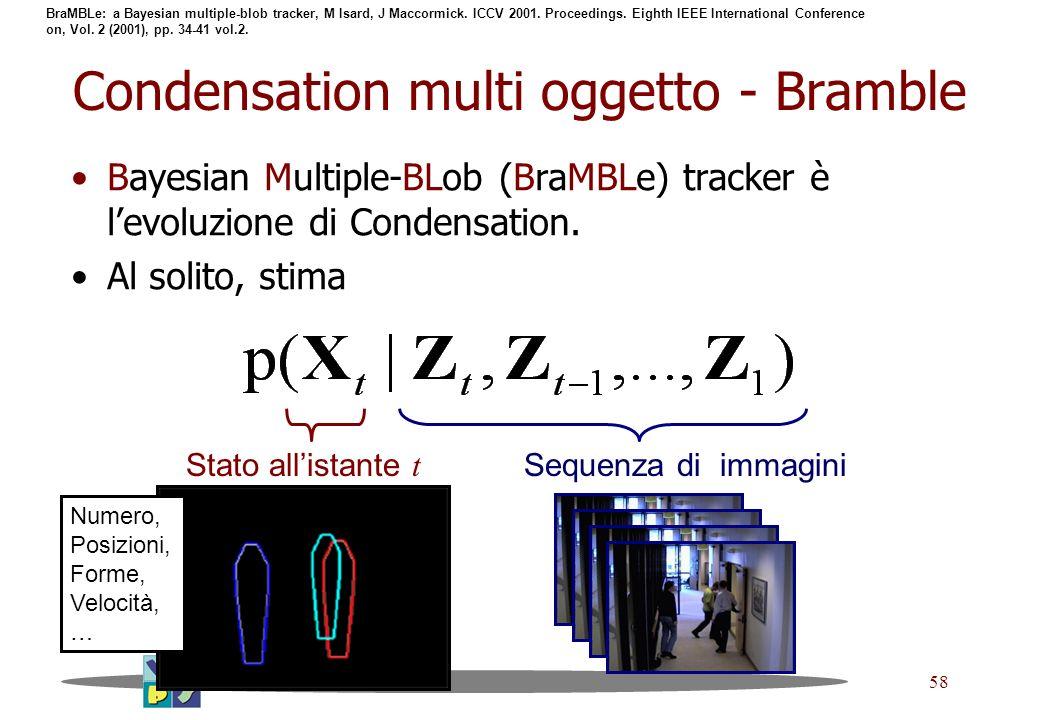 58 Condensation multi oggetto - Bramble Bayesian Multiple-BLob (BraMBLe) tracker è levoluzione di Condensation. Al solito, stima Stato allistante t Se