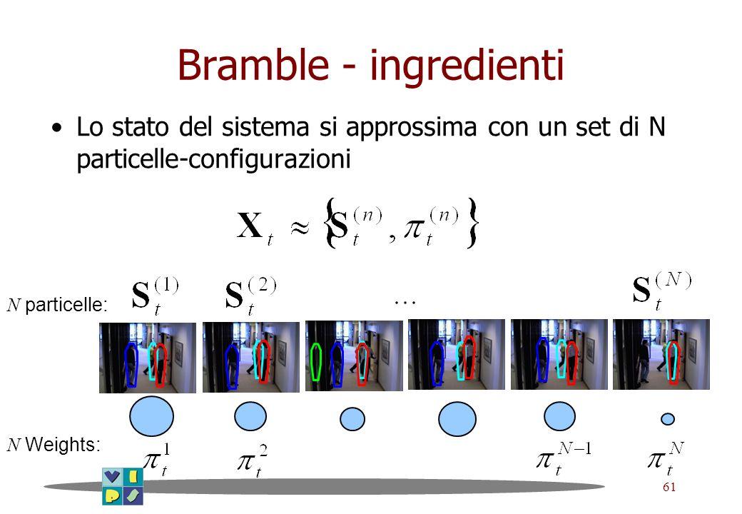 61 Bramble - ingredienti Lo stato del sistema si approssima con un set di N particelle-configurazioni N particelle: N Weights: