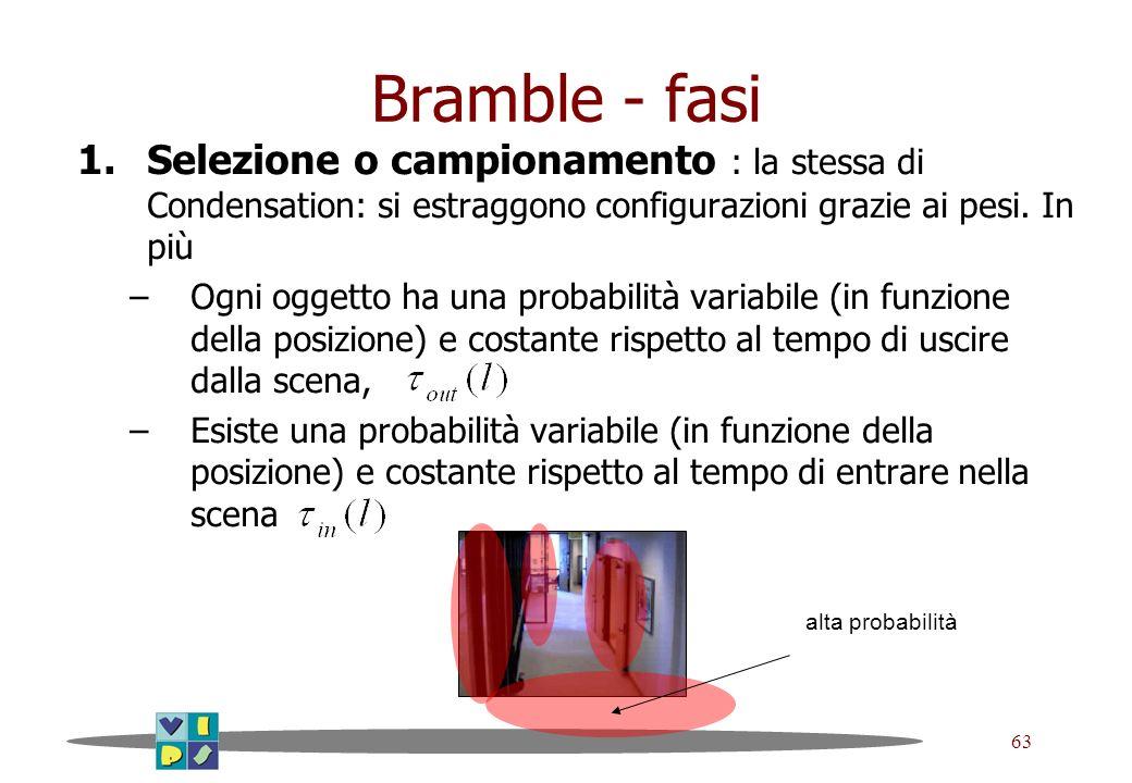 63 Bramble - fasi 1.Selezione o campionamento : la stessa di Condensation: si estraggono configurazioni grazie ai pesi. In più –Ogni oggetto ha una pr