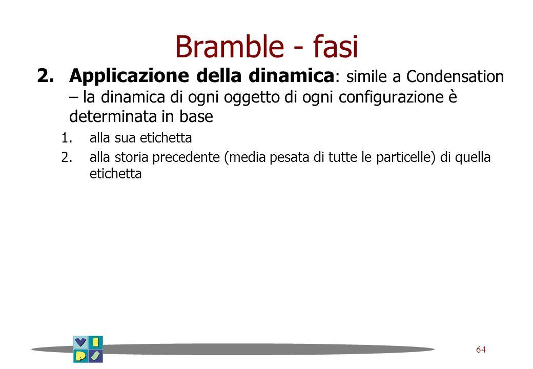 64 Bramble - fasi 2.Applicazione della dinamica : simile a Condensation – la dinamica di ogni oggetto di ogni configurazione è determinata in base 1.a