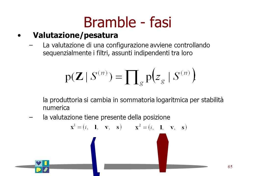 65 Bramble - fasi Valutazione/pesatura –La valutazione di una configurazione avviene controllando sequenzialmente i filtri, assunti indipendenti tra l