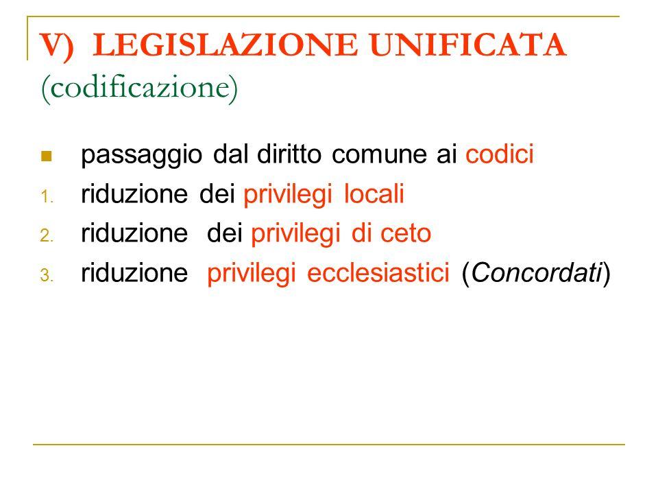 V) LEGISLAZIONE UNIFICATA (codificazione) passaggio dal diritto comune ai codici 1. riduzione dei privilegi locali 2. riduzione dei privilegi di ceto