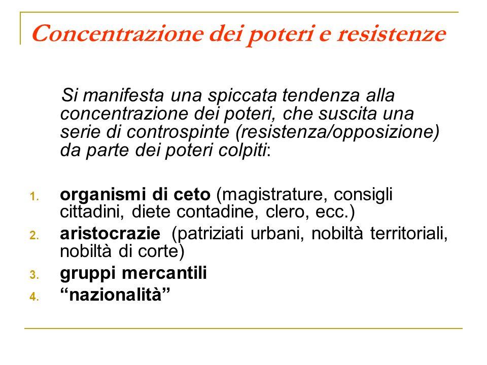 Concentrazione dei poteri e resistenze Si manifesta una spiccata tendenza alla concentrazione dei poteri, che suscita una serie di controspinte (resistenza/opposizione) da parte dei poteri colpiti : 1.