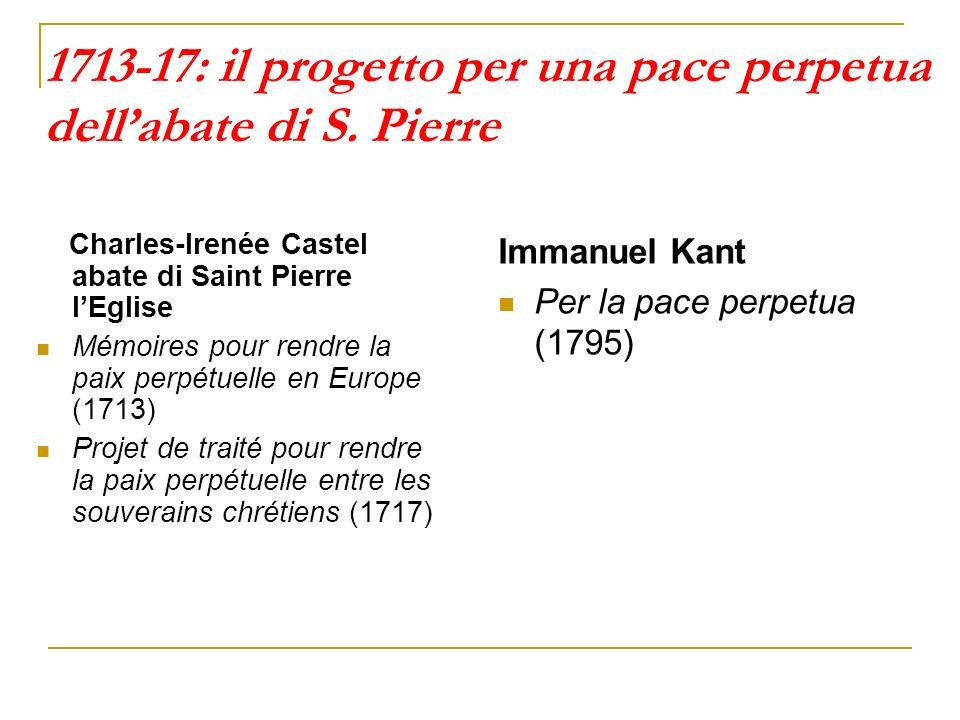 1713-17: il progetto per una pace perpetua dellabate di S. Pierre Charles-Irenée Castel abate di Saint Pierre lEglise Mémoires pour rendre la paix per